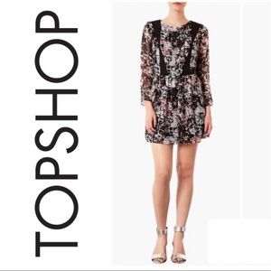 Topshop Black Geometric Floral Dress Size 8